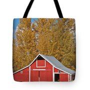 Red Barn And Fall Colors Tote Bag