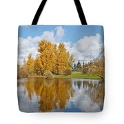 Red Barn And Fall Colors Reflected In A Pond Tote Bag