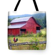 Red Barn And Rooster Tote Bag