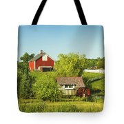 Red Barn And Water Mill On Farm In Maine Tote Bag