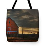 Red Barn At Dawn Tote Bag