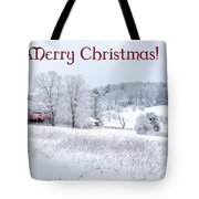 Red Barn Christmas Card Tote Bag