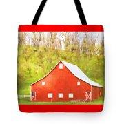 Red Barn Green Hillside Tote Bag