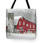 Red Barn In Snow Tote Bag