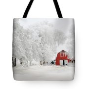 Red Barn In Winter Tote Bag