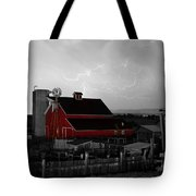 Red Barn On The Farm And Lightning Thunderstorm Bwsc Tote Bag by James BO  Insogna