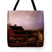 Red Barn On The Farm And Lightning Thunderstorm Tote Bag by James BO  Insogna