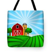 Red Barn With Grain Silo On Green Pasture Illustration Tote Bag