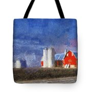 Red Barn With Silos Photo Art 02 Tote Bag