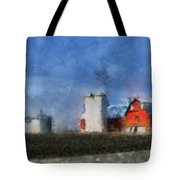 Red Barn With Silos Photo Art 03 Tote Bag