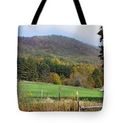 Red Barns And Mountains Tote Bag