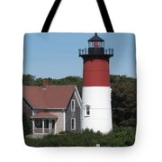 Red Beacon On Nauset Light Tote Bag
