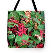 Red Berries And Green Leaves Tote Bag