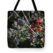 Red Berries And Violet Flowers Tote Bag