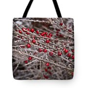 Red Berries Covered In Snow Tote Bag