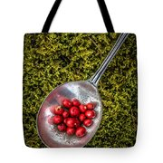 Red Berries Silver Spoon Moss Tote Bag by Edward Fielding