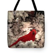 Red Bird In A Snow Covered Tree Tote Bag