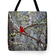 Red Bird In Dogwood Tote Bag