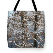 Red Bird On Snow Covered Limb Tote Bag