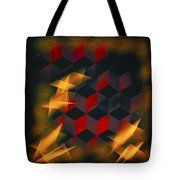 Red Black Blocks Abstract Tote Bag