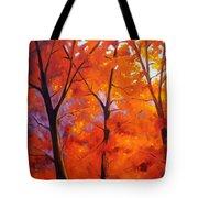 Red Blaze Tote Bag by Nancy Merkle