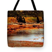 Red Boat At Low Tide Triptych Tote Bag