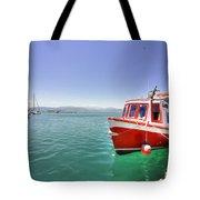 Red Boat At Nafplion Harbour Tote Bag