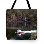 Red Boat Returning From Sea Tote Bag