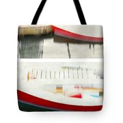 Red Boat At The Dock Tote Bag