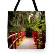Red Bridge In Southern Plantation Tote Bag