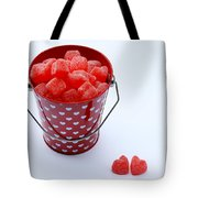 Red Bucket Of Hearts Tote Bag