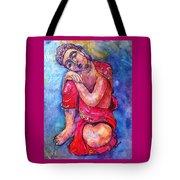 Red Buddha Resting Tote Bag