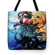 Red Bumper Tote Bag by Molly Poole