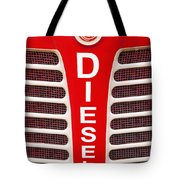 Red Bumper On Vehicle Labeled Diesel Tote Bag