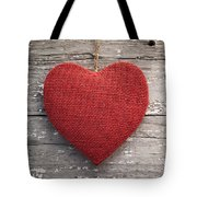 Red Burlap Heart On Vintage Table Tote Bag