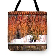 Red Bushes And Rock Wall Tote Bag