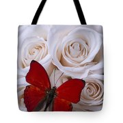 Red Butterfly Among White Roses Tote Bag