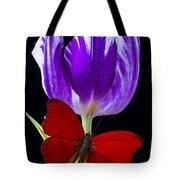 Red Butterfly And Purple Tulip Tote Bag
