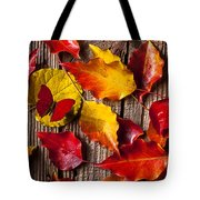 Red Butterfly In Autumn Leaves Tote Bag