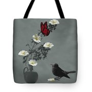 Red Butterfly In The Eyes Of The Blackbird Tote Bag by Barbara St Jean