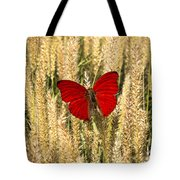 Red Butterfly In The Tall Weeds Tote Bag