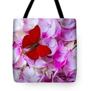 Red Butterfly On Hydrangea Tote Bag