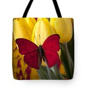 Red Butterfly Resting On Tulips Tote Bag