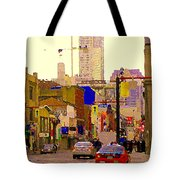 Red Cab On Gerrard Chinatown Morning Toronto City Scape Paintings Canadian Urban Art Carole Spandau Tote Bag