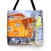 Red Caboose With Signal  Tote Bag