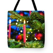 Red Candles In Christmas Tree Tote Bag