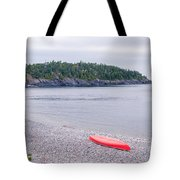 Red Canoe And Woman In Green Dress Tote Bag