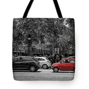 Red Car In Paris Tote Bag