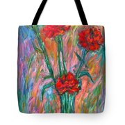 Red Carnation Melody Tote Bag