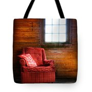 Red Chair In Panelled Room Tote Bag
